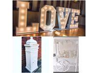 Wedding hire - Sweetie Cart, Postbox, LOVE Lights, Wedding Crèche