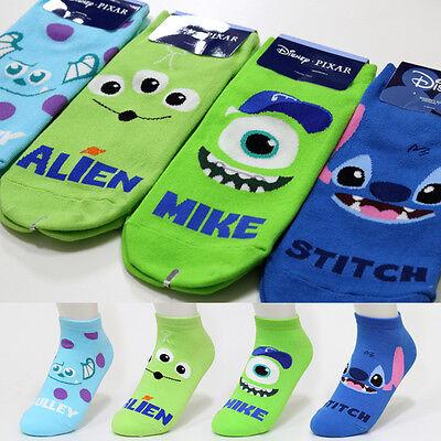 4 Pairs Monster Disney Character Socks Womens Girls Big Kids Cute Cartoon Socks