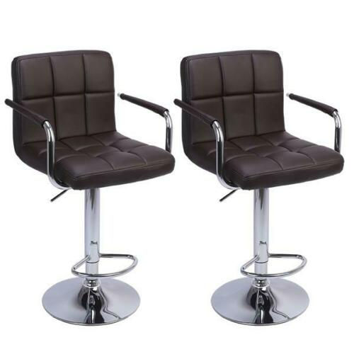 set of 2 bar stools pu leather