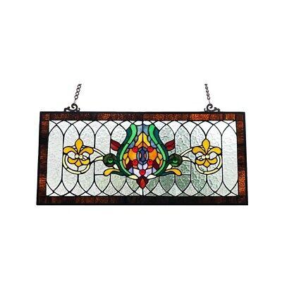 Stained Glass Fleur De Lis Pub Window Transom Panel Tiffany Style 30 L x 14 H ()