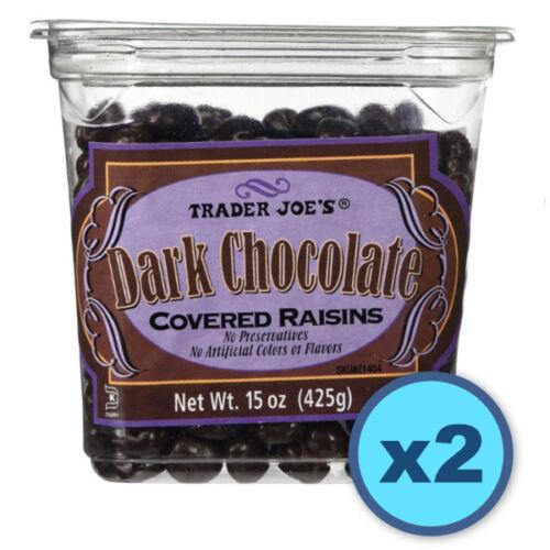 ❤️ VALUE 2 PACK Trader Joes Dark Chocolate Covered Raisins candy 15 oz ea