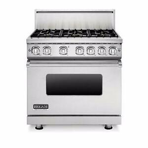 36'' PRO Gas Range, Stainless, Plaque au centre, Brigade