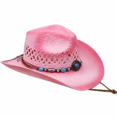 COWBOY KIDS HAT Paper Straw WESTERN RODEO Cowboy/Cowgirl Pink HIGH QUALITY - Pink Straw Cowboy Hat