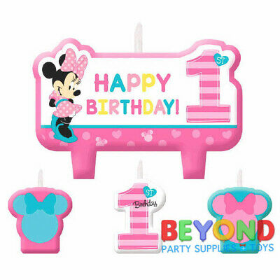 Disney Minnie Mouse 1st Happy Birthday Cake Topper Candle Set 4pc