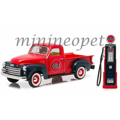 Greenlight 12984 1950 Gmc 150 Pick Up Truck Gulf Oil 1 18 With Vintage Gas Pump