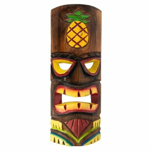 """Carved Tiki Mask with Pineapple Design 12"""" High"""