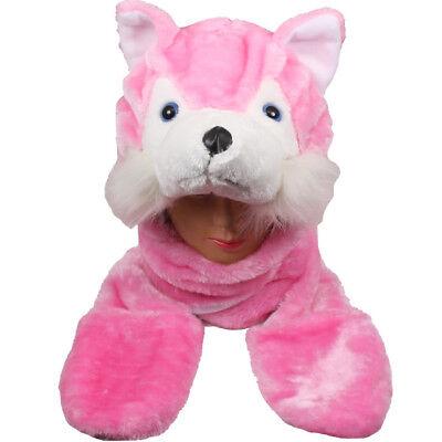 Plüsch Fleece Tier-Hut Pink Wolf mit Süß Warm Winter Geschenk USA