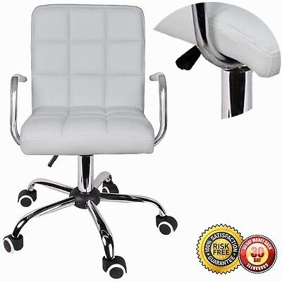 New Modern Office White Leather Chair Hydraulic Swivel Executive Computer D/Task