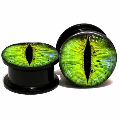 PAIR 2G 0G 00G 1/2 Green Snake Eye Ball Acrylic Ear Plug Screw Gauge Earring
