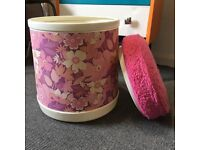 VERY Retro Laundry Basket/ Stool With Padded Pink Fluffy Lid