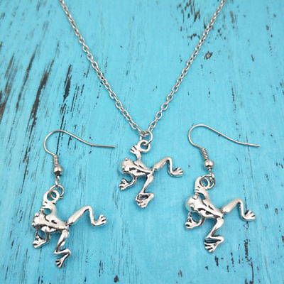 Frog Jewelry - Frog Necklace earring animal pendants jewelry,Charm Silver handmade jewelry sets