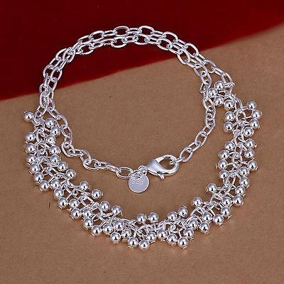 Fashion  Women Jewelry 925 Silver Plated Grapes Beads Pendant Necklace + Chain