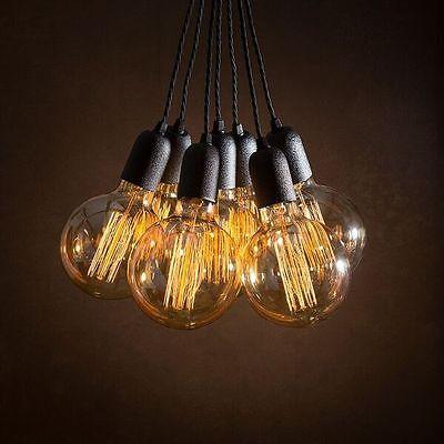 (7 Vintage pendant light cluster + 7 Edison bulbs + Ceiling Rose + Braided leads )