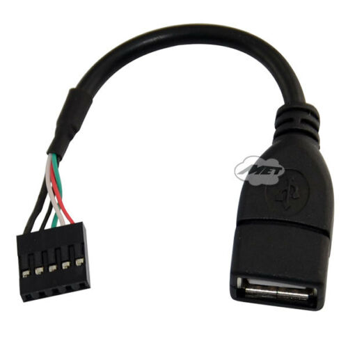 "USB 2.0 A Female Jack to 5 Pin Female 0.1/"" USB Header Motherboard Short Cable"
