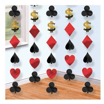 6 x 7ft Casino Suit of Cards Poker Vegas Theme Party Hanging String Decorations ()