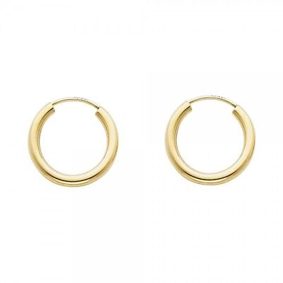 - 14K Real Yellow Gold 2mm Small Endless Hoop Earrings 15mm 0.5