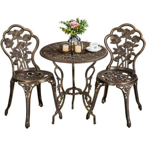 3pc Patio Bistro Set Furniture Outdoor Garden Table Chair Br