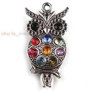 10x-141985-Charms-Silvery-Hollow-Owl-Rhinestones-3D-Alloy-Pendant-48mm-Free-P-P