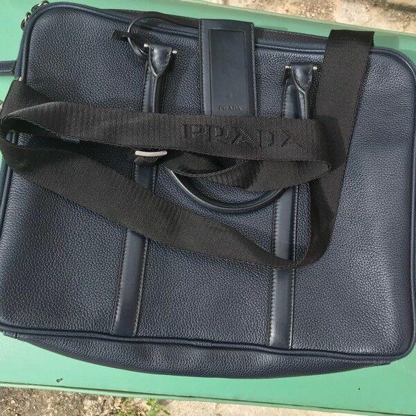 2862a5e2c38c Prada Toro Baltico TU Grain Leather Saffiano Briefcase In Dark Blue RRP  £1850