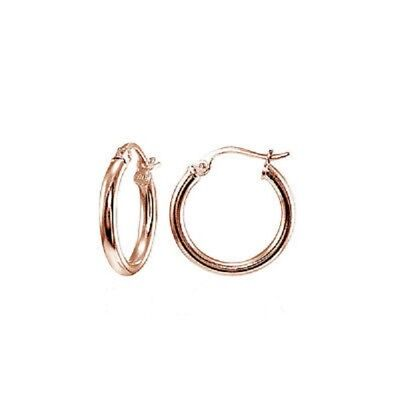 - Stainless Steel 15mm (1/2 inch) High Polished ROSE GOLD Hoop Earrings