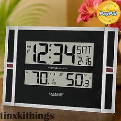 Wall Mount Digital Atomic Clock Time Date Day In Out Door Temp Sensor Desk Top