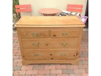 Old Original Victorian Solid Pine Chest of Draws
