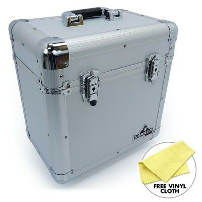 "Gorilla 12"" LP Vinyl Record Carry Storage Case Box - Silver - Holds 60"