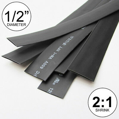 12 Id Black Heat Shrink Tube 21 Ratio 0.5 Wrap 6x9 4ft Inchfeetto 13mm