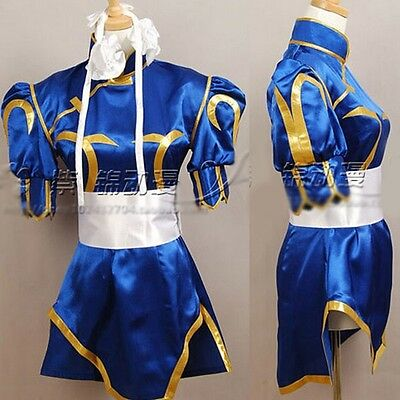 Game character CHUN LI Cosplay Costume Deep Blue Kimono Cheongsam Full - Chun Li Cosplay Kostüm