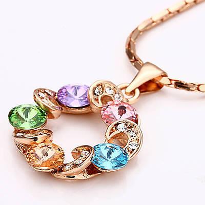 - 18K Rose GOLD Filled Multi Color SWAROVSKI Crystal Lucky Ring Pendant Necklace