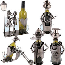 METAL BOTTLE WINE HOLDER ORNAMENT DECOR KITCHEN GIFT NOVELTY RACK STAND FUN NEW