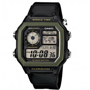 CASIO-AE-1200WHB-1B-WORLD-TIME-ALARM-LED-RESIN-WATCH-With-Warranty