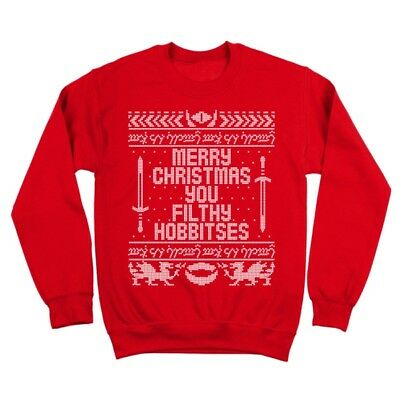 Filthy Hobbitses (You Filthy Hobbitses Merry Christmas  Funny Humor Red Crewneck)
