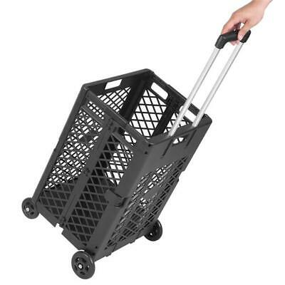 4 Wheels Mesh Rolling Utility Cart Folding Collapsible Hand Crate For Shopping
