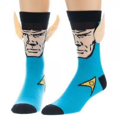 Star Trek Classic Tv Mr  Spock Blue Crew Socks With Ears Licensed New Unused