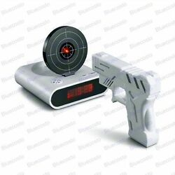 Clock Novelty Laser Target Gun Alarm Waken Desk Gadget Shoot