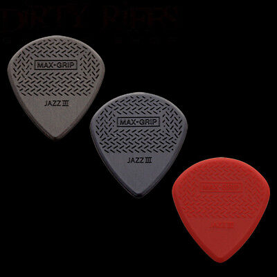 3 Dunlop Max Grip Jazz III Guitar Picks 1 Of Each Type