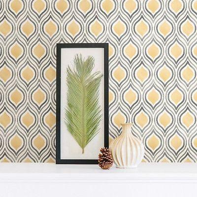 Brewster Mirabelle Retro Contemporary Watercolor Yellow Grey Designer Wallpaper Yellow Contemporary Wallpaper
