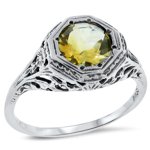 GENUINE CITRINE .925 STERLING SILVER ANTIQUE FILIGREE STYLE RING,   #133