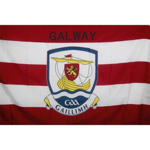 Galway GAA Official 5 x 3 FT Flag - Large Crested Irish Gaelic Football Hurling