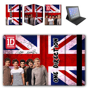 ONE DIRECTION 1D Autographs - UK Flag Vintage Style iPad 2 Flip Case Cover