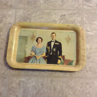 Queen Elizabeth and Prince Philip steel tray