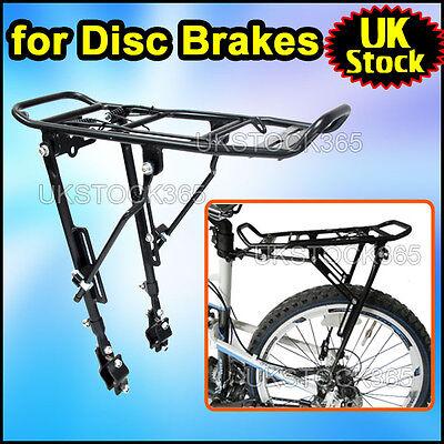 """ALLOY BIKE Bicycle DISC BRAKE REAR PANNIER RACK ADJUSTABLE FOR 24-28"""" 25KG"""