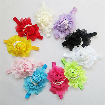 Infant Baby Bows - 10pcs Baby Toddler Infant Flower Girl Headband Hair Bow Band Hairband Head Bows