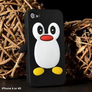 Apple iPhone 4 or 4S Penguin Cartoon Case - Cute 3D Penguin Blk
