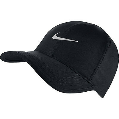 NEW NIKE DriFit Feather Light Hat Cap BLACK/Silver Swoosh ADJUSTABLE Run Tennis