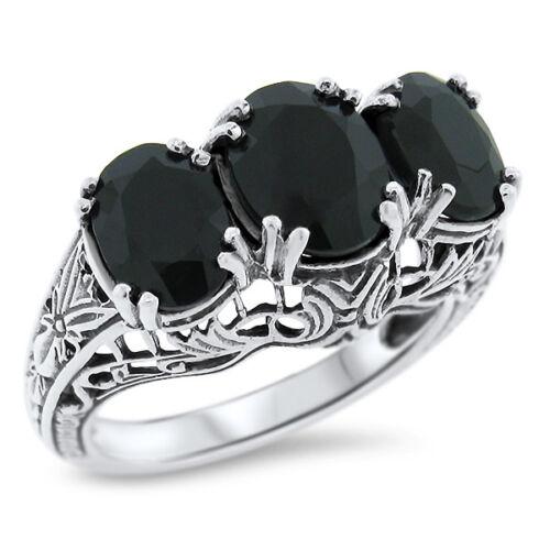 GENUINE BLACK AGATE 3 STONE ANTIQUE DESIGN .925 STERLING SILVER RING,       #763