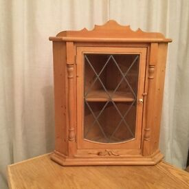 Small Pine Corner Cabinet With Leaded Lights Glass Door