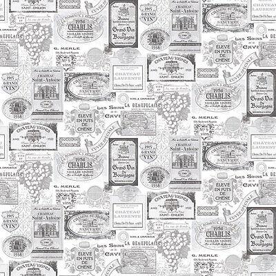 G12284 - Küche Rezepte Wein Etiketten Schwarz Grau Weiß Galerie Tapete