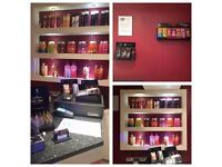 Big salon with a sunbeds, hairdressing and beauty services and place for nail stylist.
